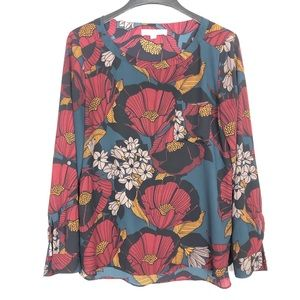 Loft Boxy Blouse Poppy Floral Teal Popover Shirt